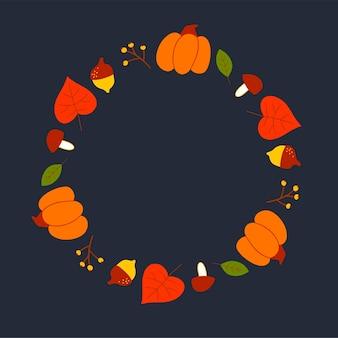수채화 스타일의 단풍과 과일의 벡터 화환. 노란색과 빨간색 잎, 도토리, 딸기, 원뿔 및 가지의 아름다운 둥근 화환. 초대장, 인사말 카드, 포스터 장식.
