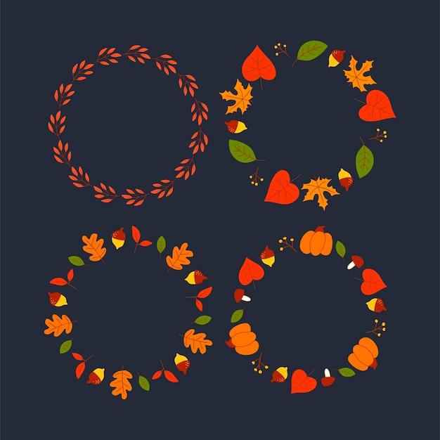 Векторный венок из осенних листьев и фруктов в стиле акварели. красивый круглый венок из желтых и красных листьев, желудей, ягод, шишек и веток. декор для приглашений, открыток, плакатов.