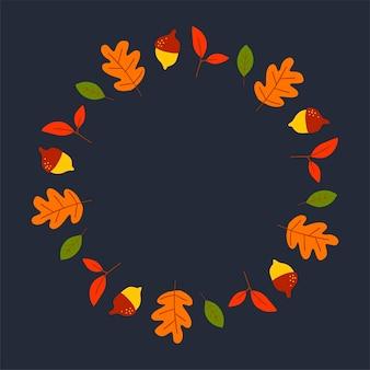 Векторный венок из осенних листьев и фруктов в стиле акварели красивый круглый венок желтого цвета