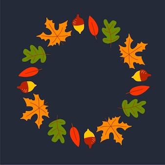 Векторный венок из осенних листьев и фруктов в стиле акварели