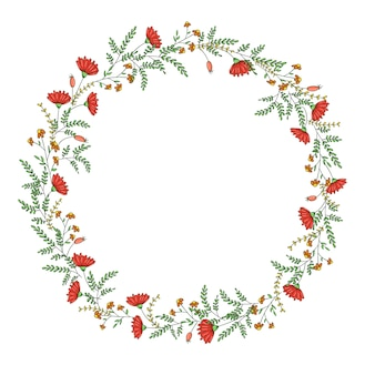Vector wreath with garden flowers and herbs