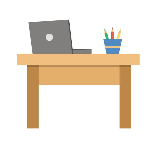 Vector writing desk with laptop and glass with pencils. job or working place