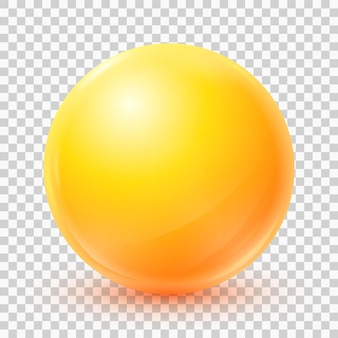 Vector yellow ball realistic 3d sphere isolated on transparent background eps10