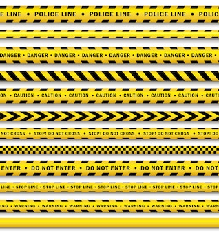 Vector yellow black police tape set