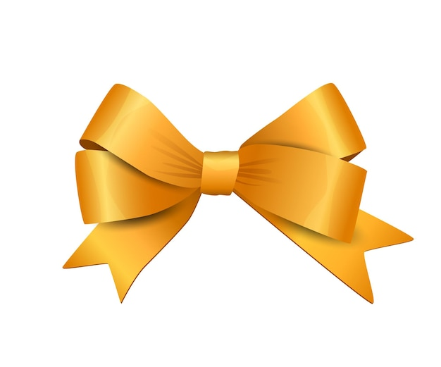 Vector yellow bow isolated on white background decorative design element