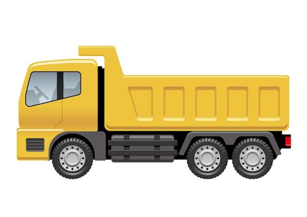 白い背景で隔離のベクトル黄色のダンプトラックの図