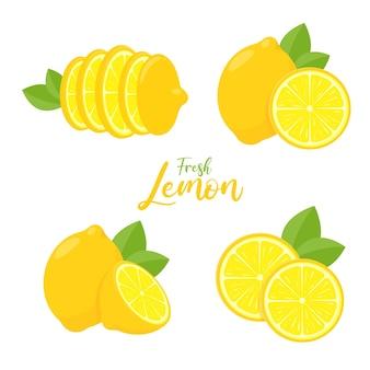 건강한 레모네이드를 만들기 위해 요리하고 짜내기위한 신맛이 나는 벡터 노란색 레몬 과일