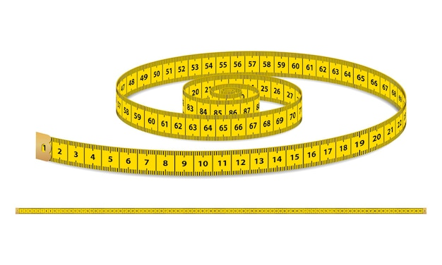 Vector yellow realistic measuring tape strap for clothing isolated on white background design template