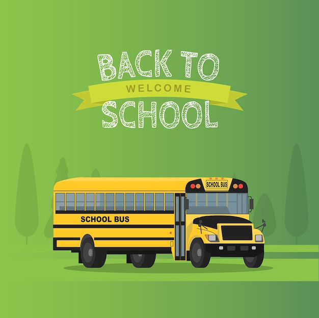 Vector yellow school bus isolated on green background.