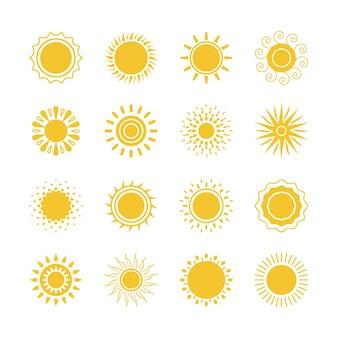 벡터 노란 태양 기호입니다. 흰색 바탕에 태양과 햇빛 아이콘 모음