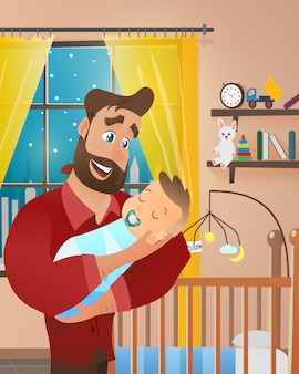 Vector young bearded man holding newborn baby