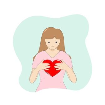 緑の背景に赤いハートを保持しているベクトル若い女性漫画スタイルバレンタインデー