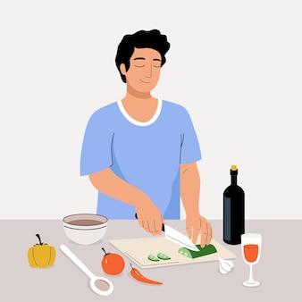 벡터 젊은 남자는 부엌에서 요리합니다. 집에서 샐러드를 위해 야채를 자르는 만화 소년. 낙서 캐릭터 일러스트