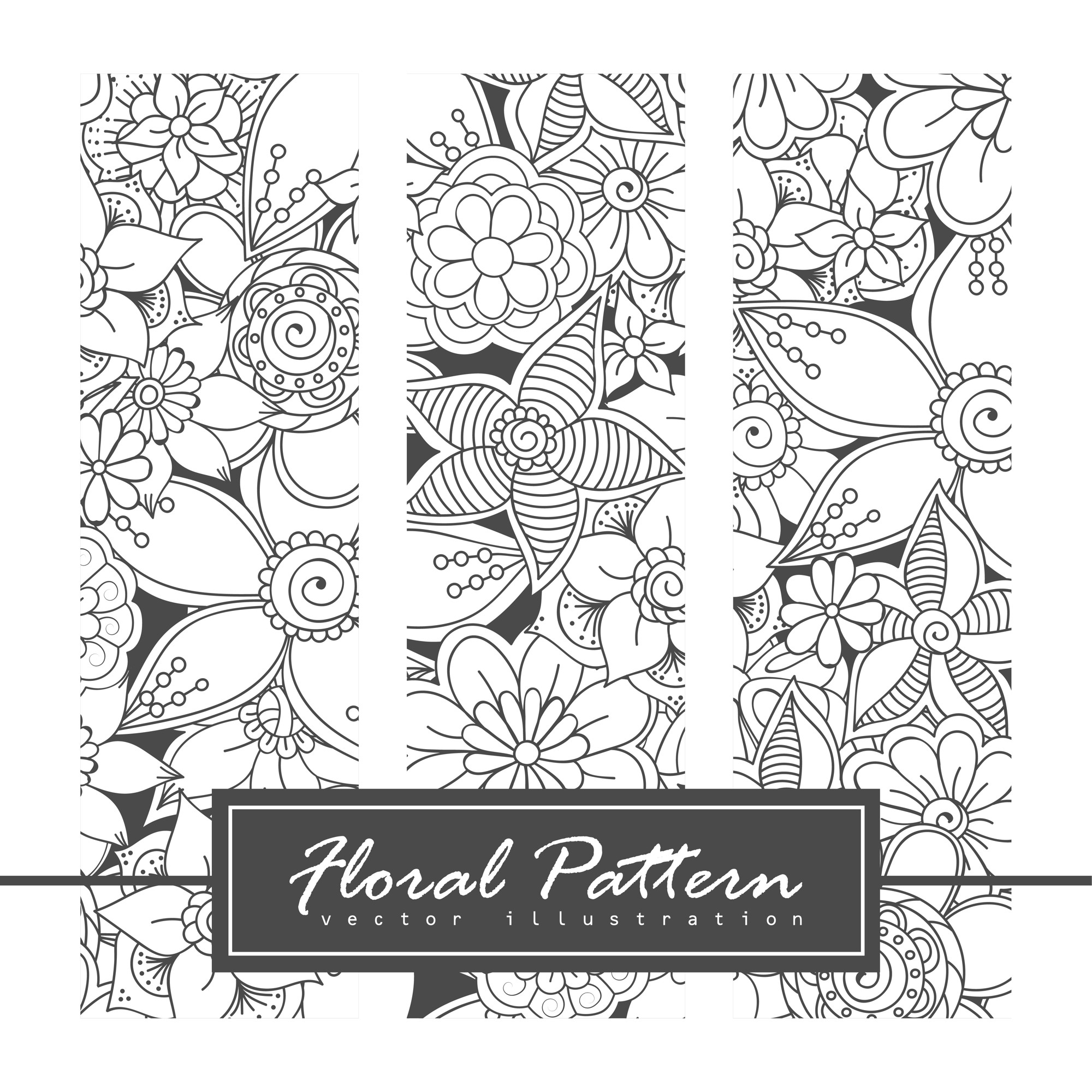 Vector zentangle patterns. Black and white abstract floral background.