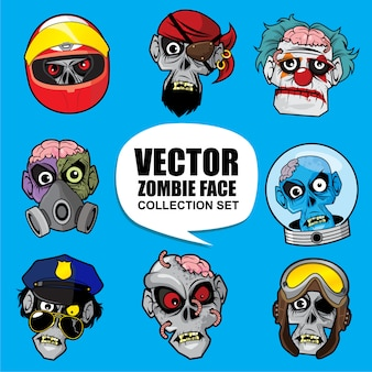 Vector zombie face collection set