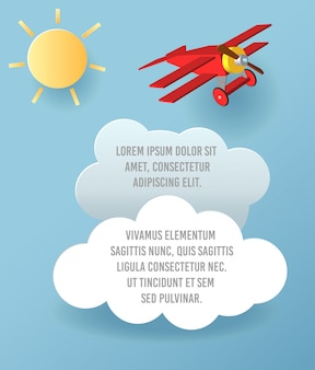 Vector бумажное искусство облака и летания самолета в небе. шаблон рекламы