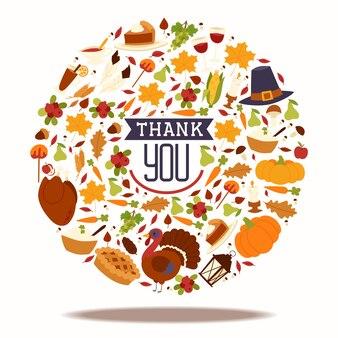 Состав праздника благодарения с традиционным пирогом индюка и плодоовощ, тыквой, яблоками карамельки и сбором гриба vector иллюстрация.