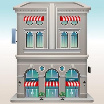 Vector магазин или фасад магазина рынка передний внешний, иллюстрация на космосе города.