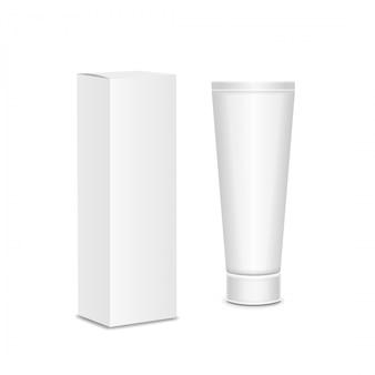 Прохладный реалистичный белый тюбик и упаковка. для косметики, мази, крем, зубная паста, клей vector.