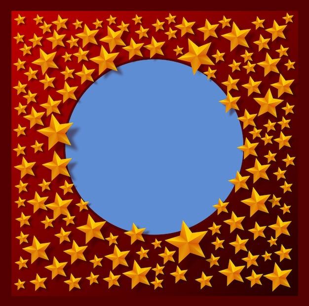 Красный фон и золотые звезды представлено в виде vector
