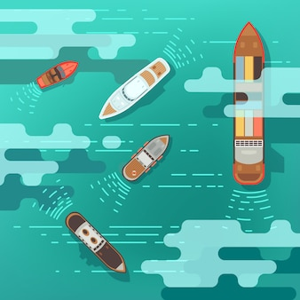 Корабль моря взгляд сверху и шлюпка доставки на поверхности воды океана vector иллюстрация. корабль и лодка, путешествия