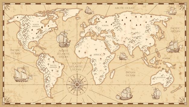 Винтажная физическая карта мира с реками и горами vector иллюстрация. ретро старинная карта старого мира с античным туристическим кораблем