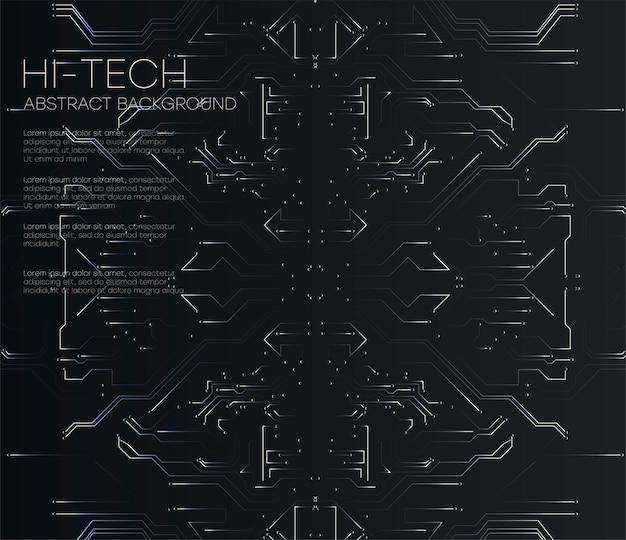 Vector абстрактная футуристическая монтажная плата, предпосылка темного черного цвета компьютерной технологии иллюстрации высокая. высокотехнологичная концепция цифровых технологий