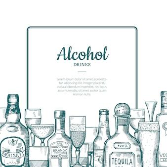 Vector нарисованная рукой рамка бутылок и стекел питья спирта с местом для текста с ниже иллюстрацией. бутылка алкогольного напитка, рисованное пиво и виски