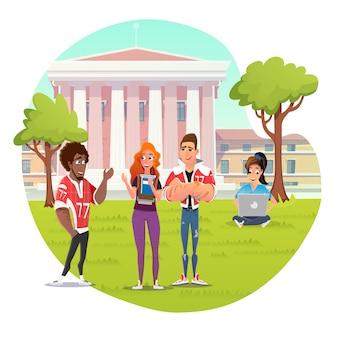 Время отдыха в студенческом городке для студентов vector