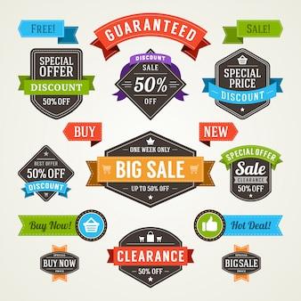 Ярлыки продажи и комплект элементов дизайна лент значков наградные качественные vector иллюстрация.
