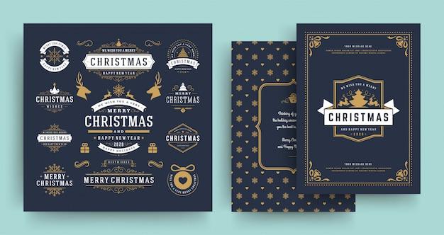 Ярлыки рождества и значки vector элементы дизайна установленные с шаблоном поздравительной открытки.