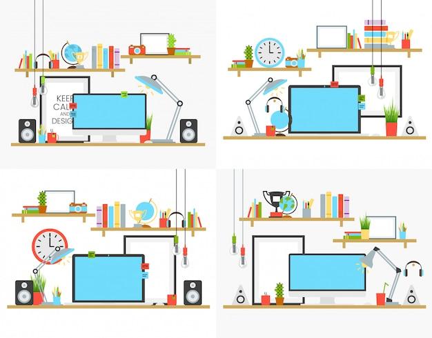 Идея проекта рабочего места офиса установила с книжными полками и чашкой кофе на столе vector иллюстрация. компьютер, лампа и звук акустические