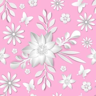 Элемент бесшовные модели vectorabstract цветок. элегантная текстура для фонов. бумага вырезана.