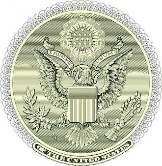 Vectorized eagle seal from one dollar bill