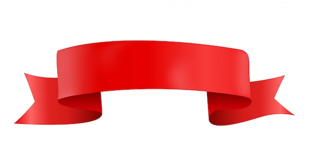 Vectorized red ribbon isolated