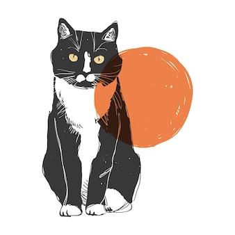 Vectorline art black and white cat