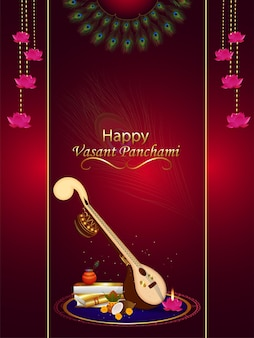 Veena and books for happy vasant panchami celebration background
