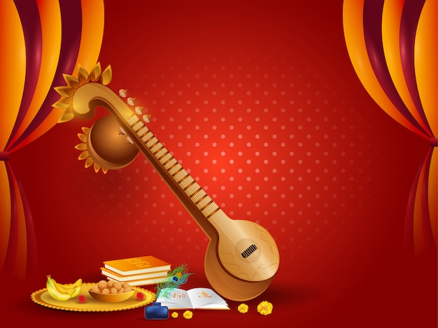 Veena instrument and religious offerings illustration on red cur