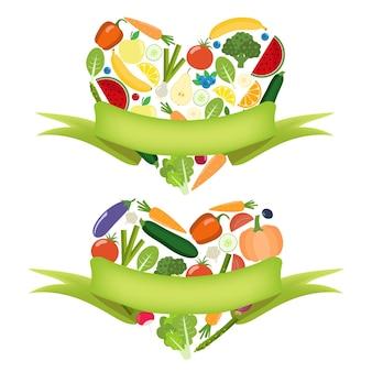 Сердце овощей с этикеткой. органическая ферма элементы здорового образа жизни. здоровые красочные овощи. плоский.
