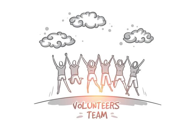 채식주의 자 개념. 성공을 축하하는 행복 자원 봉사자의 손으로 그린 그룹. 자선 활동을하는 사람들의 커뮤니티