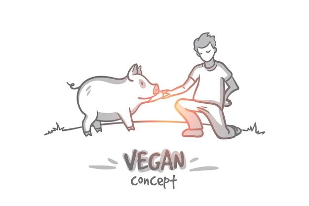 채식주의 자 개념. 손으로 그린 남자는 고기를 먹는 것을 거부합니다. 고립 된 사람 사랑 동물