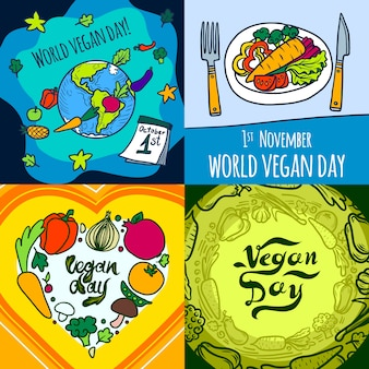 Vegan day banner set