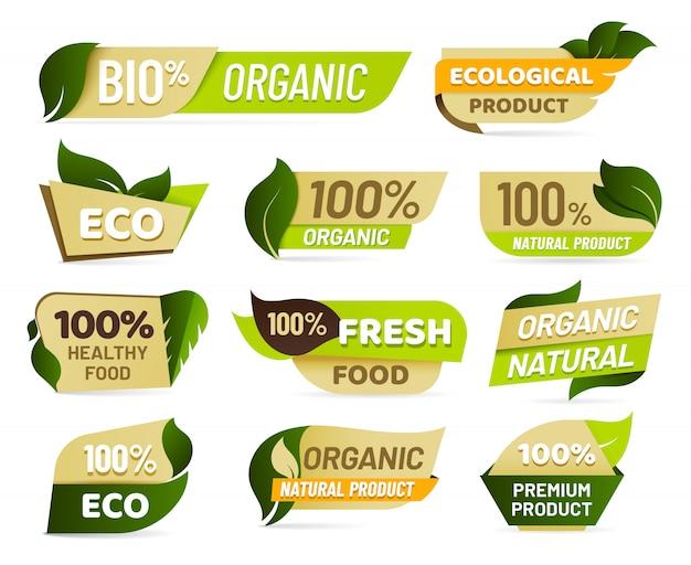 Веганская эмблема. значок продукта свежей природы, стикер продуктов здоровой вегетарианской еды и комплект ярлыков натуральных экологических продуктов Premium векторы