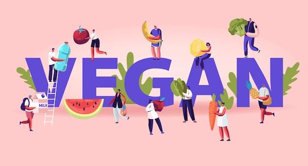 채식주의 자 음식 개념. 만화 평면 그림