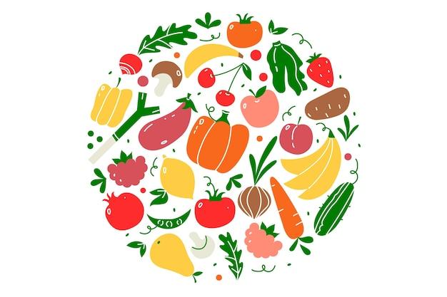 Набор каракули веганская еда. рисованные узоры фрукты и ягоды овощи вегетарианское питание или меню еды
