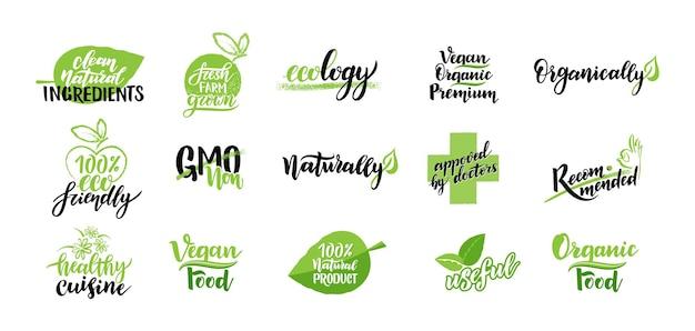 녹색 잎으로 장식된 채식주의 음식 엠블럼 세트. 유기농, 에코, 천연 제품 아이콘 및 요소