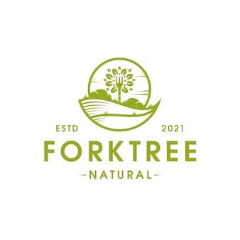 Шаблон логотипа vegan food fork tree, изолированные на белом