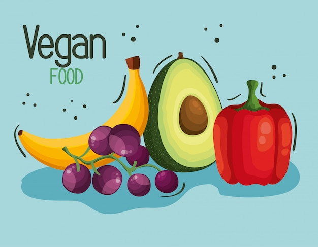 Vegan food illustration with fruits and vegetables