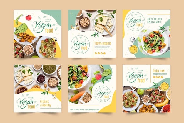 Vegan food instagram post template