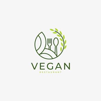 Vegan food leaf nature concept logo linear